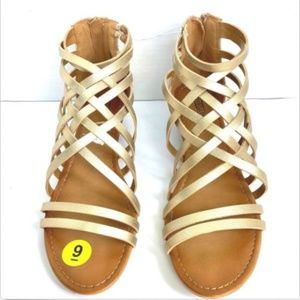Seychelles SZ 9 Gold Strappy Wedge Sandals NEW
